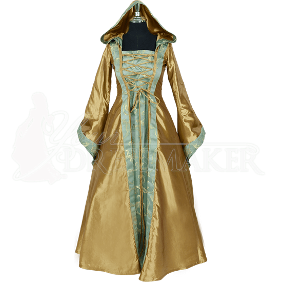 Hooded Renaissance Sorceress Gown - Gold and Green