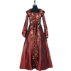 Hooded Renaissance Sorceress Gown - Burgundy
