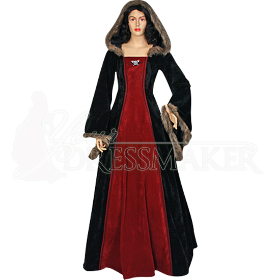 Fur Trimmed Medieval Dress with Hood - MCI-298 by Medieval and ...