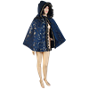 Womens Short Hooded Brocade Cape