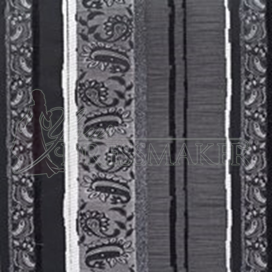 Brocade Fabric No 3 Swatch - Black (12)