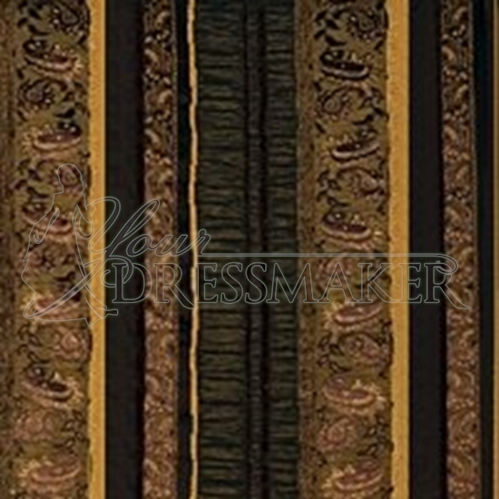 Brocade Fabric No 3 Swatch - Brown-Gold (18)