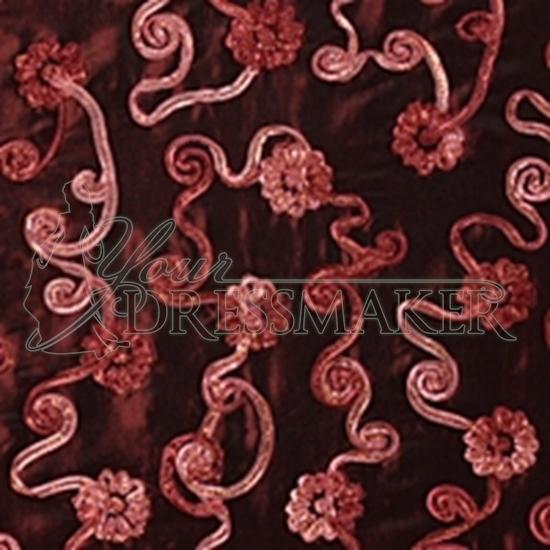Taffeta Ornament Swatch - Burgundy Rose (03)