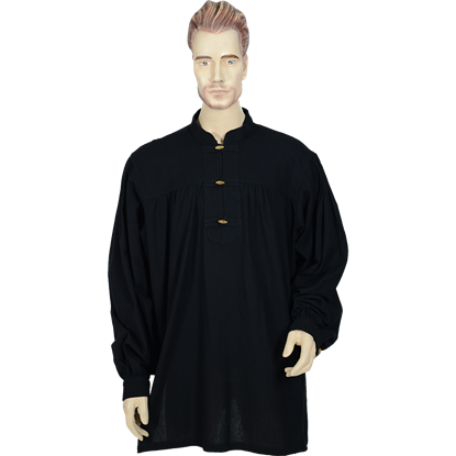 Mens Medieval Peasant Shirt - Black