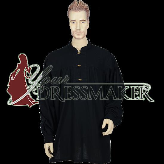 Mens Medieval Peasant Shirt - Black