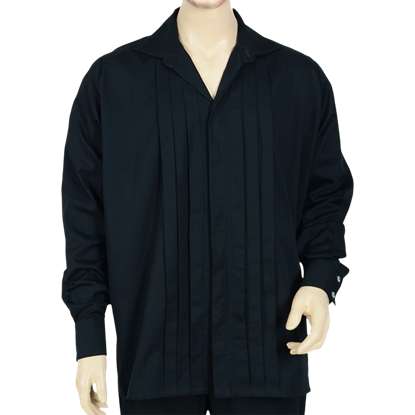Men's Pleated Front Renaissance Shirt - Black