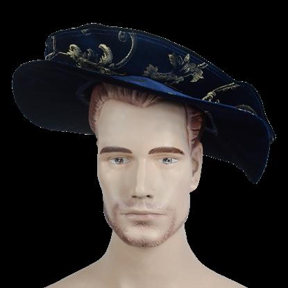 Floppy Renaissance Hat - Dark Blue