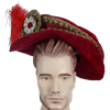 Floppy Renaissance Hat - Red with Feather
