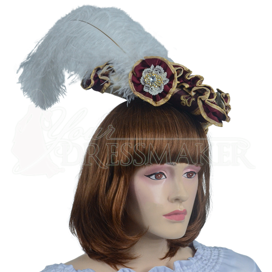 Antoinette Renaissance Hat - Burgundy and Gold