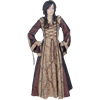 Hooded Renaissance Sorceress Gown - Brown and Gold, 35 Inch Bust
