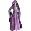 Hooded Draped Sleeve Renaissance Dress - Purple and Pink