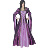 Hooded Draped Sleeve Renaissance Dress - Purple and Pink