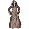 Hooded Renaissance Sorceress Gown - Brown and Gold, 36 Inch Bust