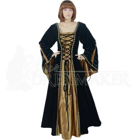 Medieval Demoiselle Dress - Black and Gold