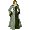 Hooded Renaissance Sorceress Gown - Grey and Green