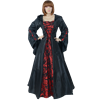 Medieval Maiden Hooded Dress - Black and Red, X-Large