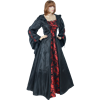 Medieval Maiden Hooded Dress - Black and Red, Large