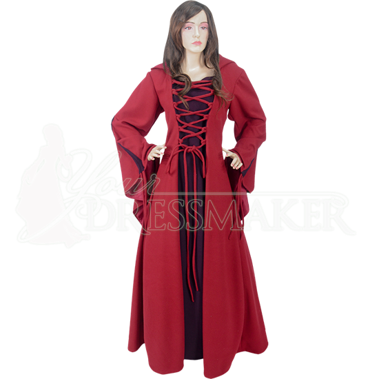 Medieval Maiden Hooded Dress, Red and Burgundy, Large