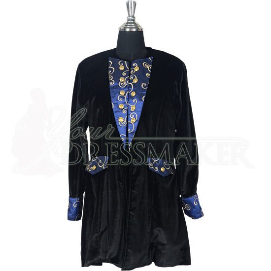 Womens Baroque Frock Coat - Black and Blue