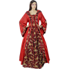 Hooded Renaissance Sorceress Gown - Red