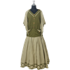 French Maiden Ensemble - Green and Light Brown
