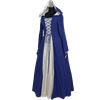 Medieval Maiden Hooded Dress - Blue and White