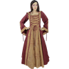 Hooded Renaissance Sorceress Gown - Red and Gold