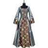 Embroidered Medieval Dress - Silver and Brown