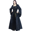 Hooded Renaissance Sorceress Gown - Black and Gold