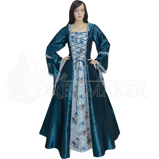 Embroidered Medieval Dress - Turquoise