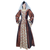 Embroidered Medieval Dress - Brown and Orange Floral