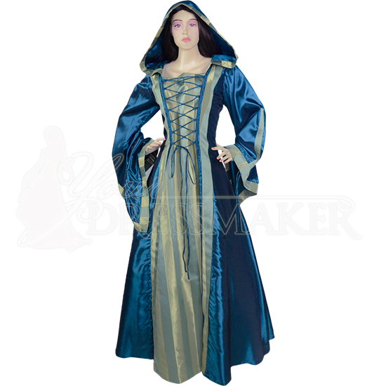 Hooded Renaissance Sorceress Gown - Blue and Striped