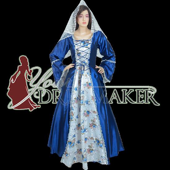 Embroidered Medieval Dress - Blue