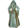 Hooded Renaissance Sorceress Gown - Gold and Green Stripe