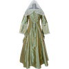 Embroidered Medieval Dress - Gold and Green Stripe