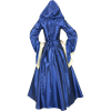 Hooded Renaissance Sorceress Gown - Blue and Cream