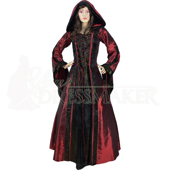 Hooded Renaissance Sorceress Gown - Burgundy with Black and Gold