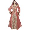 Hooded Renaissance Sorceress Gown - Rose Floral, Medium