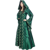 Hooded Renaissance Sorceress Gown - Green, Large