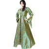 Embroidered Medieval Dress - Green Floral