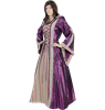 Hooded Renaissance Sorceress Gown - Purple and Pink Stripe