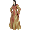 Hooded Renaissance Sorceress Gown - Gold and Red Damask, Large
