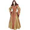 Hooded Renaissance Sorceress Gown - Gold and Red Damask