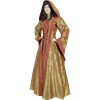 Hooded Renaissance Sorceress Gown - Gold and Red, XX-Large