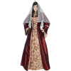 Embroidered Medieval Dress - Burgundy and Cream