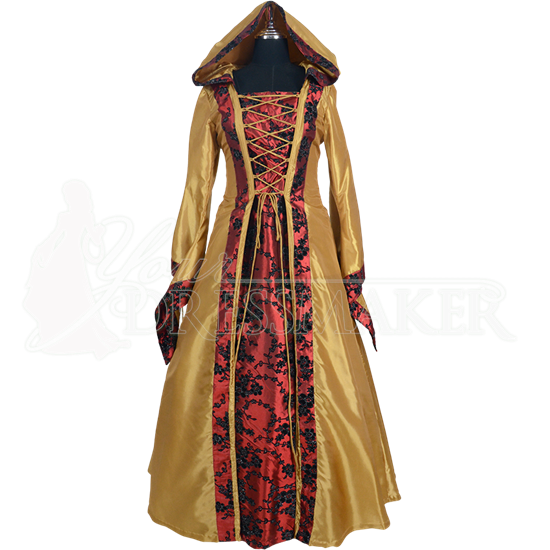 Hooded Renaissance Sorceress Gown - Gold with Red and Black