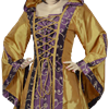 Hooded Renaissance Sorceress Gown - Gold and Purple