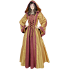 Hooded Renaissance Sorceress Gown - Gold and Red, Large