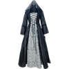 Embroidered Medieval Dress - Black and Silver