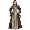 Hooded Renaissance Sorceress Gown - Brown and Green